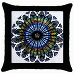 Rose Window Strasbourg Cathedral Throw Pillow Case (Black) Front