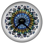 Rose Window Strasbourg Cathedral Wall Clocks (Silver)  Front