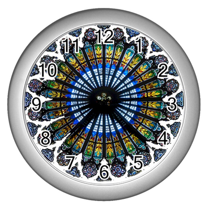 Rose Window Strasbourg Cathedral Wall Clocks (Silver)
