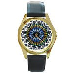 Rose Window Strasbourg Cathedral Round Gold Metal Watch Front