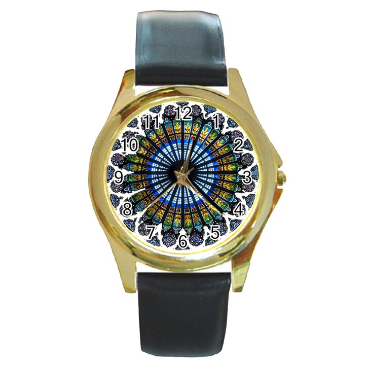 Rose Window Strasbourg Cathedral Round Gold Metal Watch