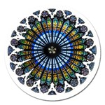 Rose Window Strasbourg Cathedral Magnet 5  (Round) Front