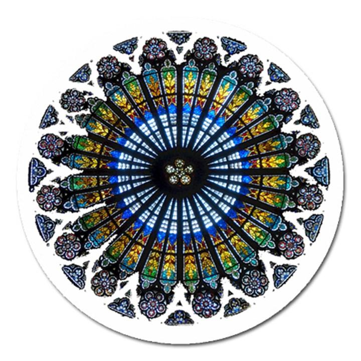 Rose Window Strasbourg Cathedral Magnet 5  (Round)