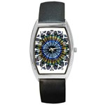 Rose Window Strasbourg Cathedral Barrel Style Metal Watch Front