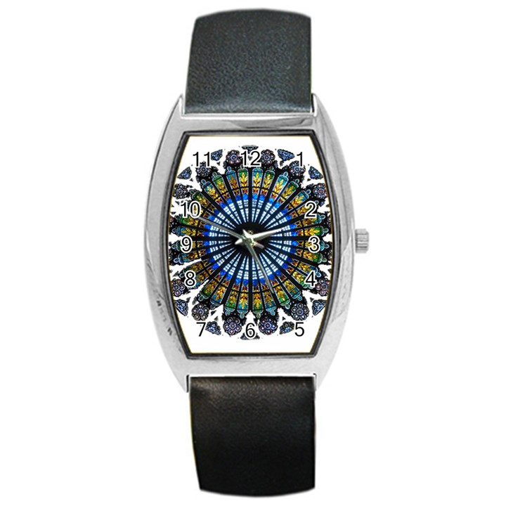 Rose Window Strasbourg Cathedral Barrel Style Metal Watch