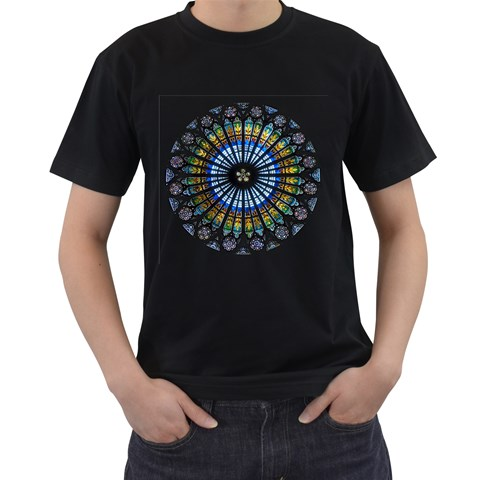 Rose Window Strasbourg Cathedral Men s T-Shirt (Black) (Two Sided)