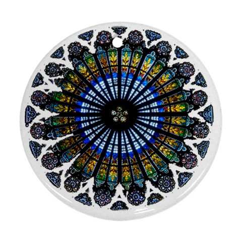 Rose Window Strasbourg Cathedral Round Ornament (Two Sides)