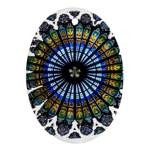 Rose Window Strasbourg Cathedral Oval Ornament (Two Sides)