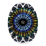 Rose Window Strasbourg Cathedral Oval Ornament (Two Sides) Back