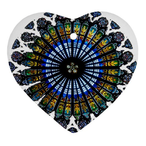 Rose Window Strasbourg Cathedral Heart Ornament (2 Sides)