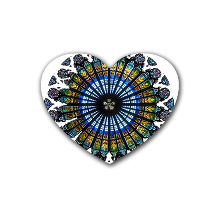 Rose Window Strasbourg Cathedral Rubber Coaster (Heart)