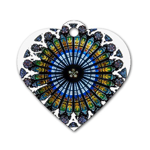 Rose Window Strasbourg Cathedral Dog Tag Heart (Two Sides)