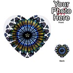Rose Window Strasbourg Cathedral Multi-purpose Cards (Heart)  Front 51