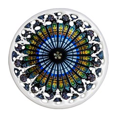 Rose Window Strasbourg Cathedral Ornament (Round Filigree)