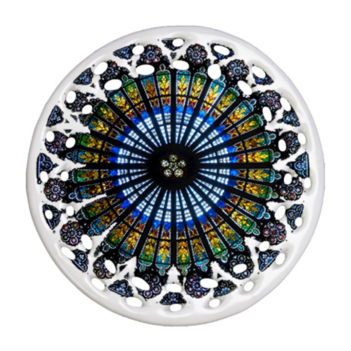 Rose Window Strasbourg Cathedral Round Filigree Ornament (2Side)