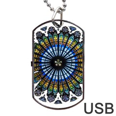 Rose Window Strasbourg Cathedral Dog Tag USB Flash (Two Sides)