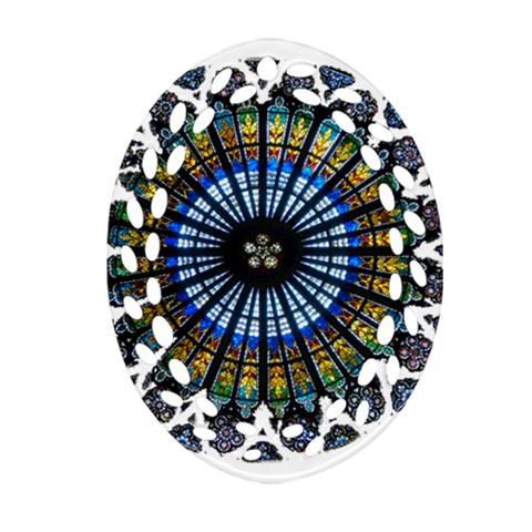 Rose Window Strasbourg Cathedral Ornament (Oval Filigree)