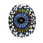 Rose Window Strasbourg Cathedral Oval Filigree Ornament (2-Side)  Front