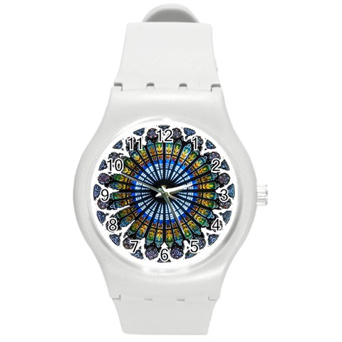 Rose Window Strasbourg Cathedral Round Plastic Sport Watch (M)