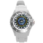 Rose Window Strasbourg Cathedral Round Plastic Sport Watch (L) Front