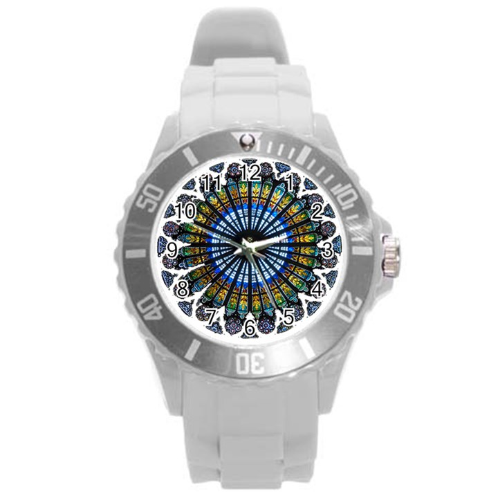 Rose Window Strasbourg Cathedral Round Plastic Sport Watch (L)
