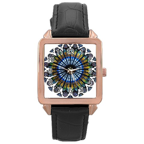 Rose Window Strasbourg Cathedral Rose Gold Leather Watch