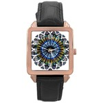 Rose Window Strasbourg Cathedral Rose Gold Leather Watch  Front