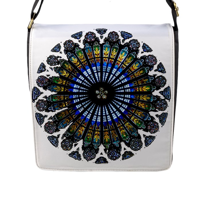Rose Window Strasbourg Cathedral Flap Messenger Bag (L)