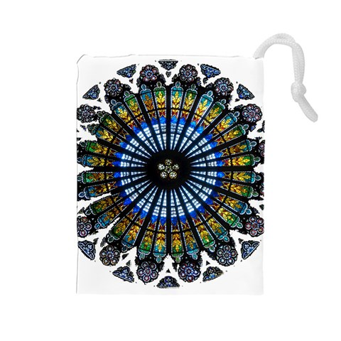 Rose Window Strasbourg Cathedral Drawstring Pouches (Large)