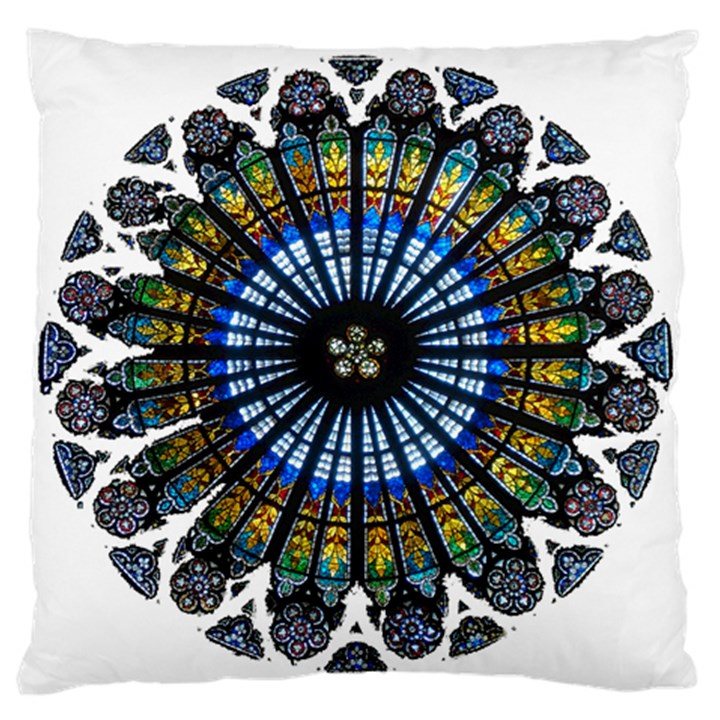 Rose Window Strasbourg Cathedral Large Flano Cushion Case (One Side)