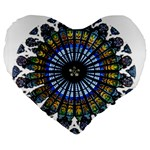 Rose Window Strasbourg Cathedral Large 19  Premium Flano Heart Shape Cushions Front