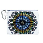 Rose Window Strasbourg Cathedral Canvas Cosmetic Bag (L) Front