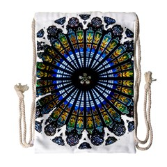 Rose Window Strasbourg Cathedral Drawstring Bag (Large)
