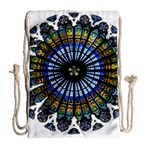 Rose Window Strasbourg Cathedral Drawstring Bag (Large) Back