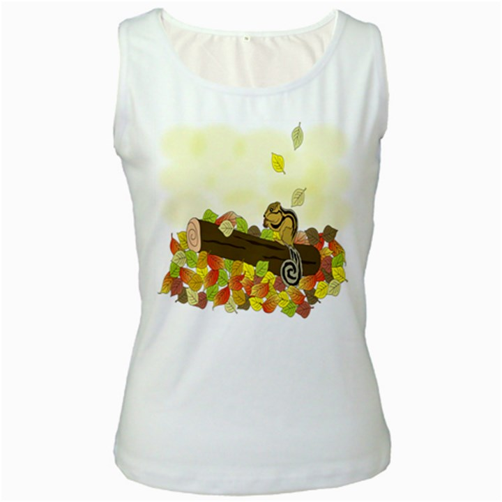 Squirrel  Women s White Tank Top