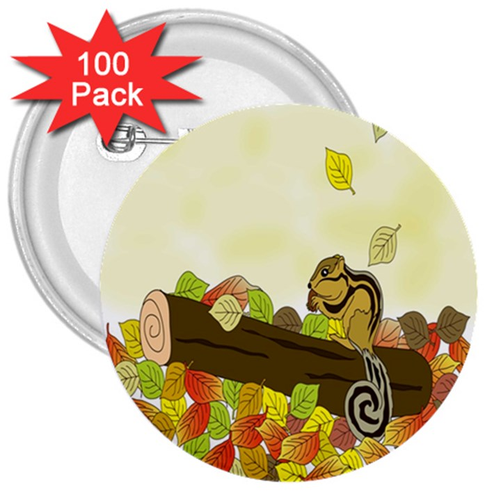 Squirrel  3  Buttons (100 pack)