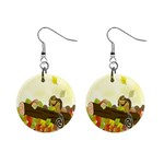 Squirrel  Mini Button Earrings Front