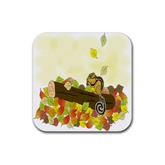 Squirrel  Rubber Square Coaster (4 pack)
