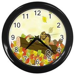 Squirrel  Wall Clocks (Black)