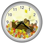 Squirrel  Wall Clocks (Silver)  Front