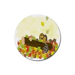 Squirrel  Rubber Coaster (Round)