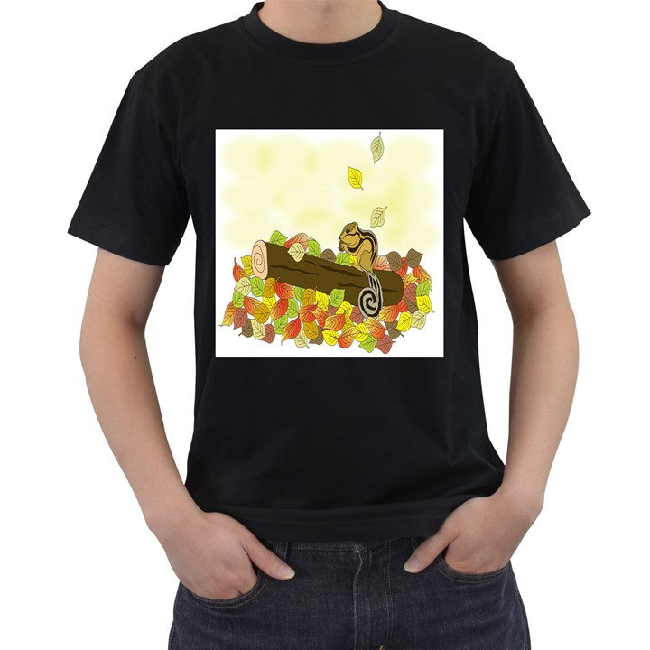 Squirrel  Men s T-Shirt (Black) (Two Sided)
