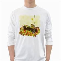 Squirrel  White Long Sleeve T-Shirts