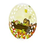 Squirrel  Oval Filigree Ornament (2-Side)  Front