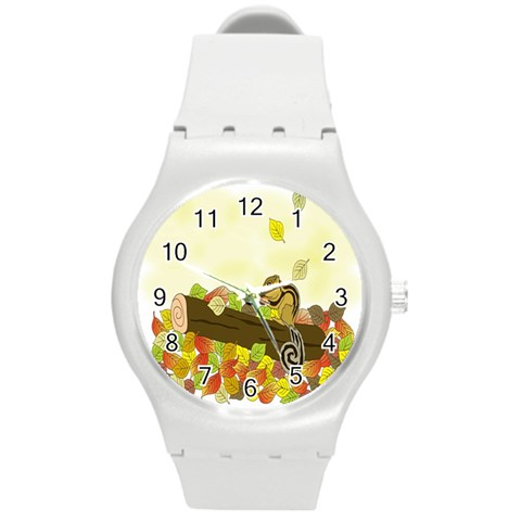 Squirrel  Round Plastic Sport Watch (M)