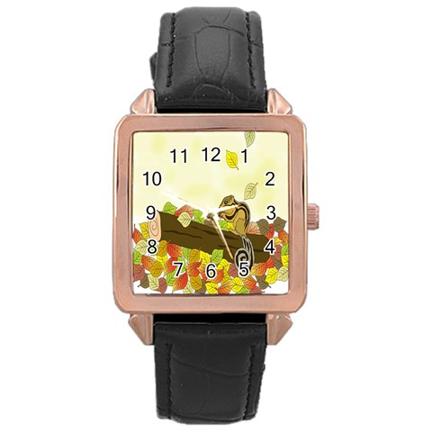 Squirrel  Rose Gold Leather Watch