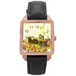Squirrel  Rose Gold Leather Watch  Front