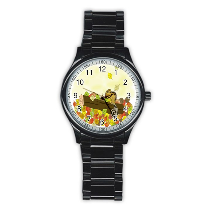 Squirrel  Stainless Steel Round Watch