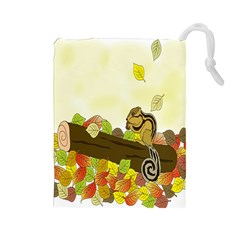 Squirrel  Drawstring Pouches (Large)