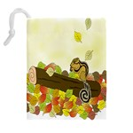 Squirrel  Drawstring Pouches (Extra Large) Back